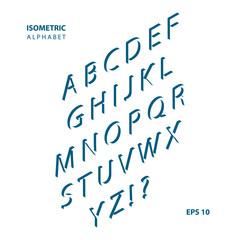 Isometric font alphabet. Vector illustration.