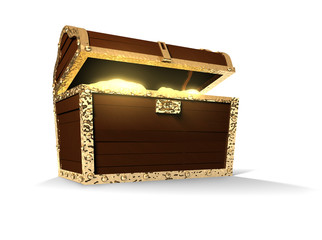 Treasure Chest With Glowing Contents Isolated On White
