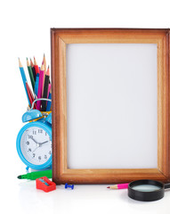 school supplies and frame