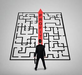 Business man thinking Profit word maze