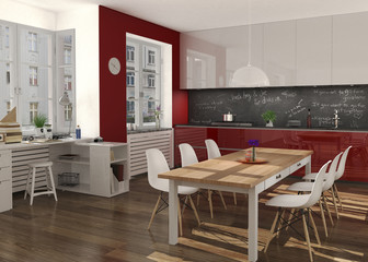 Appartement mit Küchenzeile und Essplatz