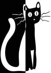 Chat pop en noir et en blanc
