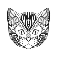 Ornamental head of cat, trendy ethnic zentangle design, hand drawn, vector