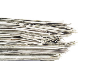 stack of newspaper, isolated on white background