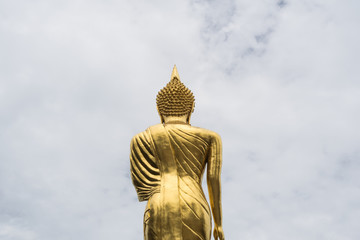 Golden Buddha standing on a mountain with white cloud background