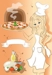 Pizzaiola con Pizza e Banner per Testo