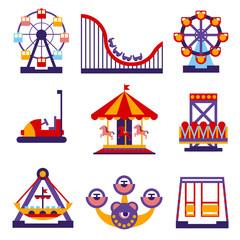 Amusement Park Icons Set of Vector Flat Design Illustrations