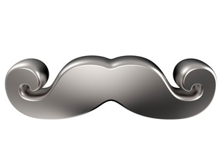 Silver mustache. 3D render illustration isolated on white background