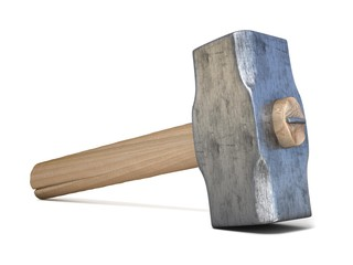 Hammer. 3D render illustration isolated on white background