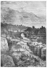 The earthquake, vintage engraving.