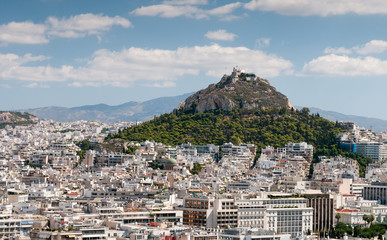 Skyline of the city of Athens in Greece