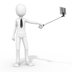 3d man selfie photo with smartphone