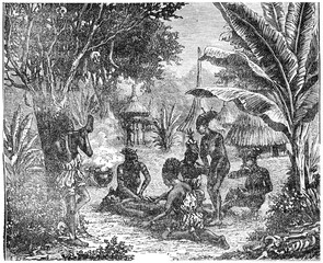 Cannibals of Central Africa in 1870, vintage engraving.