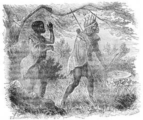 Bushmen hunting, vintage engraving.