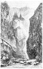 Entrance of the Val d'Enfer (Black Forest), vintage engraving.