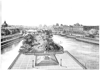 The platform of the Pont-Neuf and the statue of Henri IV, vintag