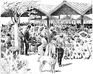 At the Flower Market in the City, vintage engraving.