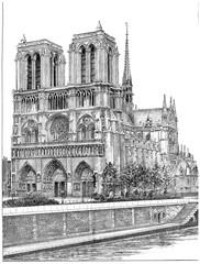Notre-Dame de Paris, vintage engraving.