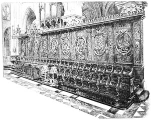 The stalls of the choir, vintage engraving.