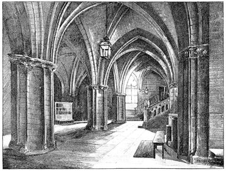 Conciergerie, Guardroom, vintage engraving.