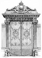 The Golden Palace gates, vintage engraving.