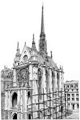 Sainte-Chapelle, vintage engraving.