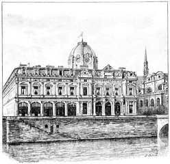 The Palace of the Commercial Court, vintage engraving.
