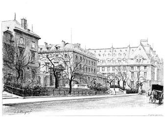 The College de France, Rue des Ecoles, vintage engraving.