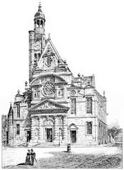 Church of St. Etienne du Mont, vintage engraving.