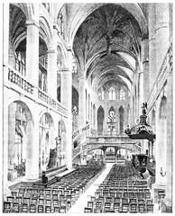 Interior view of Saint-Etienne du Mont, vintage engraving.