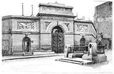 Ecole Polytechnique, vintage engraving.