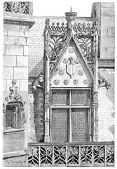 Corner of Hotel de Cluny, vintage engraving.