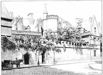 Entrance of the Hotel de Cluny, street Sommerard, vintage engrav