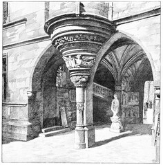 The devoted to Gothic arches, vintage engraving.