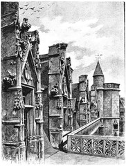 Gallery update and dormers of the hotel Cluny, vintage engraving