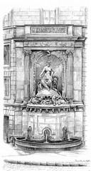 Cuvier fountain, vintage engraving.