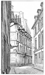 Intersection of Rue Hautefeuille and Snaking street, vintage eng