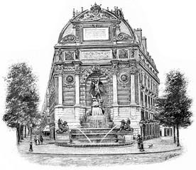 Fontaine Saint-Michel, vintage engraving.
