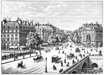 The bridge, the square and the boulevard Saint-Michel, vintage e