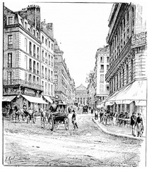 Carrefour and rue de l'Odeon, vintage engraving.