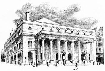 Theatre de l'Odeon, vintage engraving.