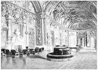 The hall, vintage engraving.