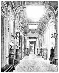 Gallery of the busts in the Luxembourg Palace, vintage engraving