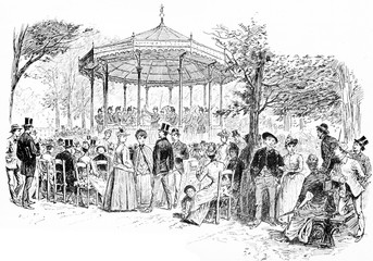 Military Music in the Luxembourg Gardens, vintage engraving.