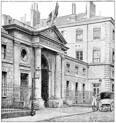 Charity Hospital, vintage engraving.