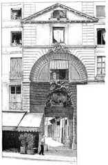 Entrance to the courtyard of the Dragon, vintage engraving.