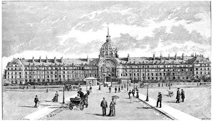 The National Residence of the Invalids, vintage engraving.