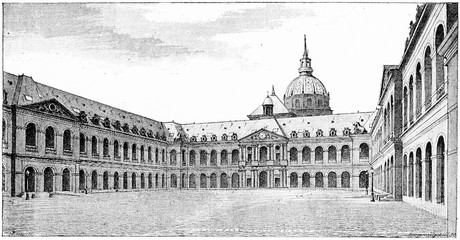 The courtyard, vintage engraving.