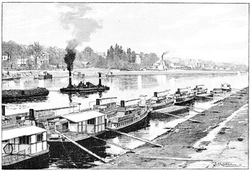 The flotilla of riverboats at Point du Jour, vintage engraving.