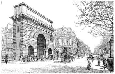Boulevard and Porte Saint-Martin, vintage engraving.